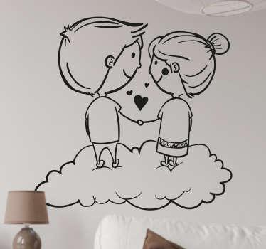 Sticker verliefd stel wolken
