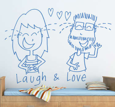 Happy valentine's day wall sticker design of cartoon drawing featured with text '' laugh and love'' . Available in any required size.