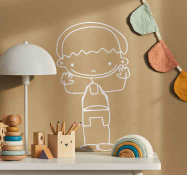 A very friendly sticker of a boy waving. Superb decal to decorate your child´s room and make it look more like it should!