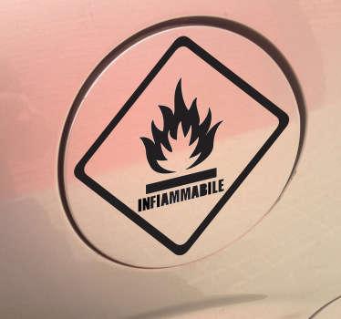Decora il serbatoio della tua moto con questo pratico adesivo che avverte del pericolo di combustione.