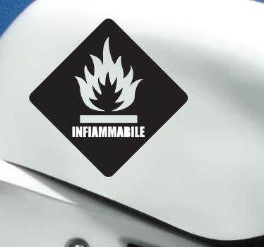 Decora il serbatoio della tua moto con questo pratico adesivo che avvisa del rischio di combustione.