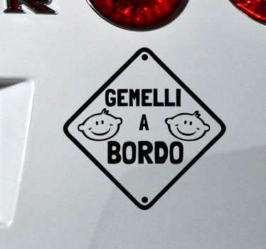 Sticker decorativo gemelli a bordo