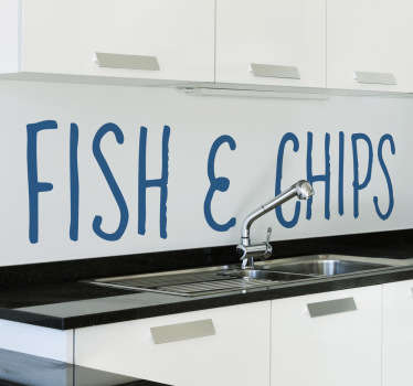 Kitchen Wall Stickers - Type text decal - Fish & Chips. Select one of our 50 colours and a size that suits you