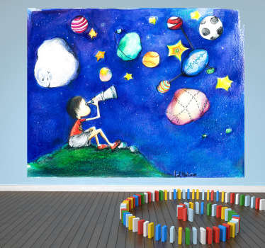 çocuklar yıldızlı gökyüzü illüstrasyon duvar resmi