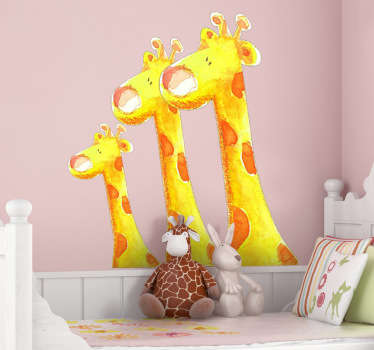 An illustration of three fluffy giraffes to decorate your children's bedroom. A splendid giraffe wall sticker for the little ones.