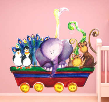 Kids Wall Sticker- Watercolour illustration of a cart filled with animals including penguins, monkeys, a snake, elephant and more.
