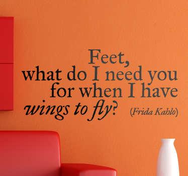 Vinilo frase Frida Kahlo inglés