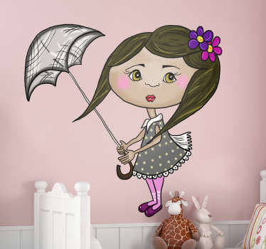 Kids Girl With Umbrella Sticker