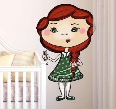 Wandtattoo Kinderzimmer Mädchen mit Kamm