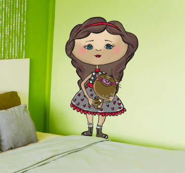 Kids Wall Stickers - Original illustration of a girl holding her pet cat. Unique design by artist Apatino Art.