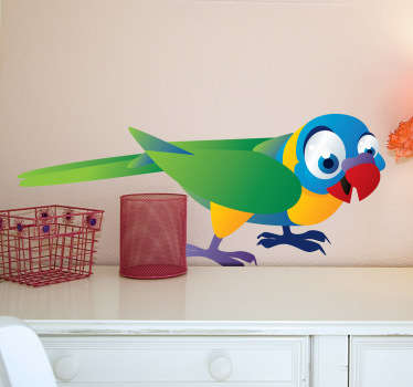 Kids wall stickers - Colourful and playful parrot design from our collection of bird wall stickers. Vibrant design perfect for bringing some colour and personality to your child's room or nursery.
