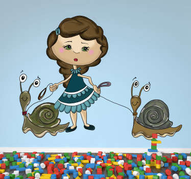 Kids Wall Stickers - Original illustration of a girl holding her pet snails. Unique design by artist Apatino Art.