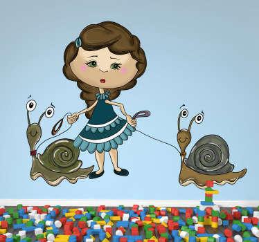 sticker meisje met slakken