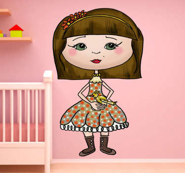 Kids Wall Stickers - Original illustration of a girl holding her yellow pet bird.