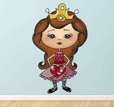 A cute sticker of a young princess, complete with a pretty dress and tiara holding a heart.