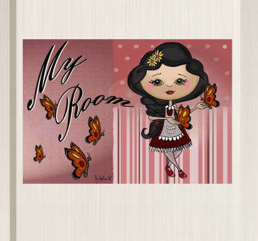"Kids Wall Stickers - Original illustration of a girl surrounded by butterflies next to the text ""My Room"" . Unique design by artist Apatino Art."