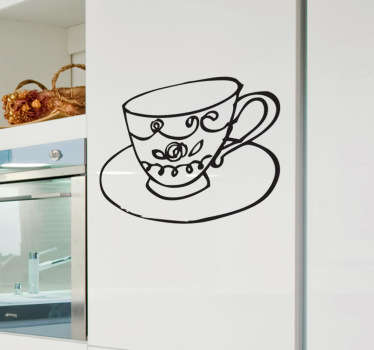 Kitchen wall sticker showing a fine tea cup. Ideal for decorating the kitchen, dining room or even the living room - wherever you decide to relax and have a cup of tea. Perfect for adding that classy touch to your home decor and finally fill that empty space on your wall.