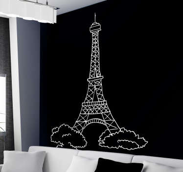 Wall Stickers - Sketch design of the Eiffel Tower. Available in 50 colours. Personalised stickers. High quality materials.