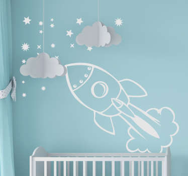 An illustration of a spaceship launching into the stars from our collection of star wall stickers ideal to decorate your home!