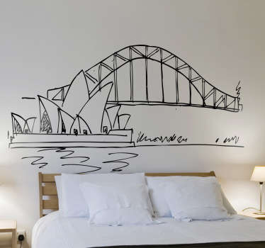 Room Sticker - An illustration of the Sydney Opera House and Harbour Bridge.Decals ideal for decorating your home.