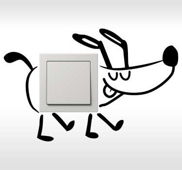 Onnellinen kävely koira seinä tarra