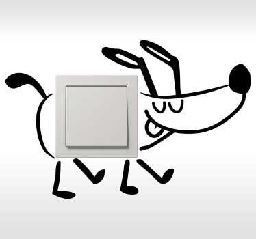 Adhesivo decorativo interruptor perro paseo