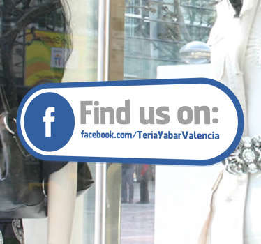 Informative decal for your shop front window and let everyone know that they can also contact you on Facebook. Worldwide delivery available!