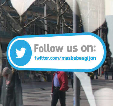 Promote the Twitter account of your company with this striking shop front window sticker. This social media decal is a must-have to let all the world know about your company. Eye-catching design that will make sure you are present online.