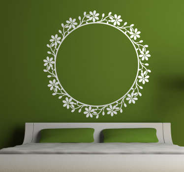 Wall Stickers- Classic and elegant circular floral frame feature. Decorate your home with a touch of colour.