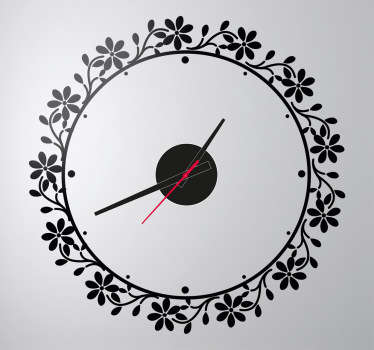Naklejka zegar ramka kwiaty