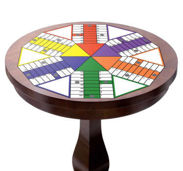 Parcheesi board game sticker to decorate any space in the home. It is easy to apply and self adhesive. Buy it in any required szie.