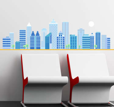Wall Stickers - Illustration of a blue city skyline during the day. Ideal for the home or office.
