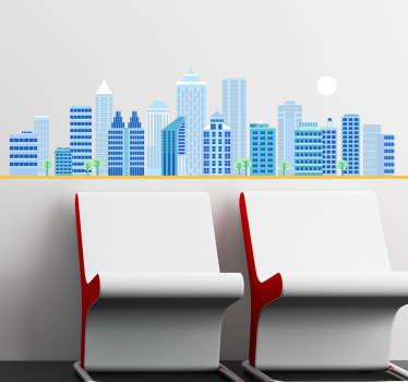 Sticker decorativo skyline di giorno