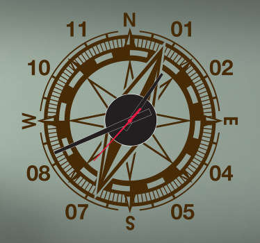 Sticker horloge boussole