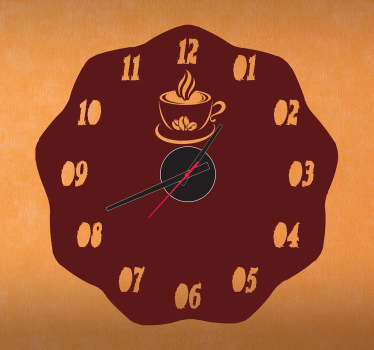 A brilliant clock with a coffee themed design from our collection of coffee wall art stickers to decorate your home or office.