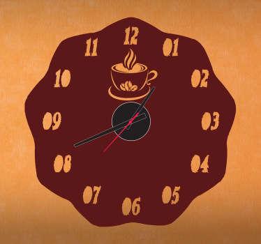 Sticker horloge café chaud