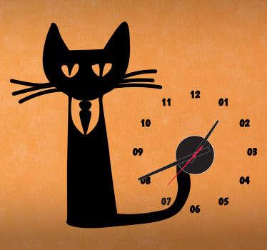 Autocolante de parede relógio-gato