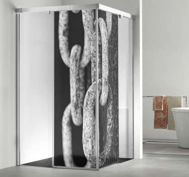 Decorate the screen of your shower with an artistic sticker showing a photograph of an old chain.
