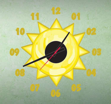 Wall Clocks - Sun illustration clock. Original and distinctive, ideal for decorating the nursery, bedrooms or play areas for kids.