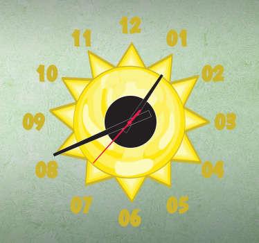 Kinderen zon klok kinderkamer sticker