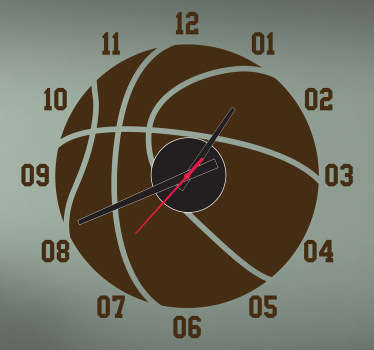 Basket klocka vägg klistermärke