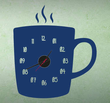 Sticker horloge tasse café
