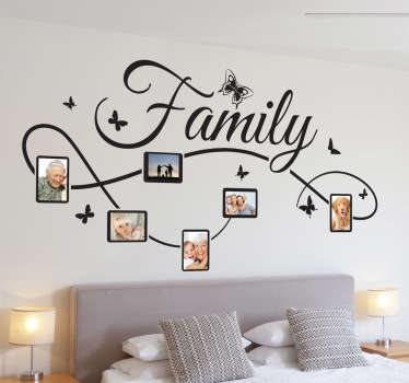 A beautiful photo frame decal to include photos of your family. Show how much your family mean to you with this great design.