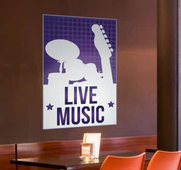 Autocolante decorativo música é vida