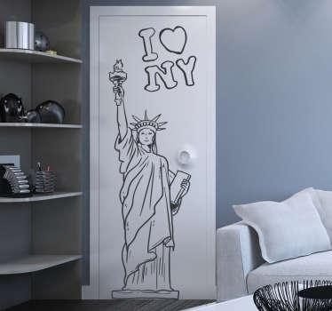 Sticker mural dessin statue de la liberté