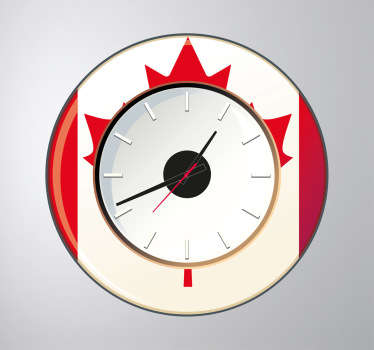 Wandtattoo Wanduhr Flagge Kanada