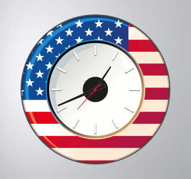 Wall Clocks - United States of America wall clock. Vibrant blue and red colours with the white strips and stars of the US flag.