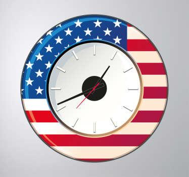 Sticker orologio muro Stati Uniti