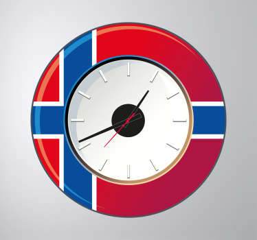 Wall Clocks - Norwegian flag clock design. Distinctive and ideal for decorating your home or any space.Perfect for any room