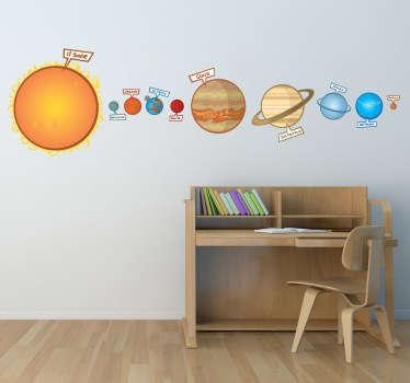 Adesivo bambini illustrazione sistema solare